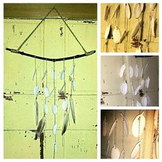 Ceramic and real feather wind chime (collage)