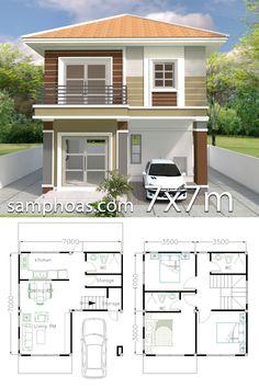 Home Design Plan with 3 Bedrooms - SamPhoas Plan - House Architecture 2 Storey House Design, Duplex House Design, Simple House Design, House Front Design, Modern House Design, Duplex House Plans, Modern House Plans, Small House Plans, House Floor Plans