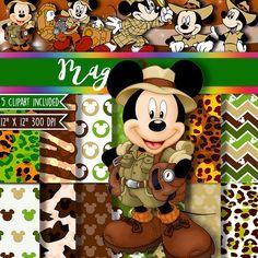 Safari Mickey Mouse Digital Paper Clipart Clip by Digital Paper, Patterns, Party Printables, Invitations, Labels, Etiquetas, Invitaciones, Toppers, Frozen, Peppa Pig, Disney, La Sirenita, The Little Mermaid Party, MagicPaperStore, Elsa Frozen, Doc McStuffins, Rapunzel, Elmo, Batman, Spiderman, Lego, Olaf, Sheriff Callie, Ben & Holly, Barney, Minnie Mouse, Mickey Mouse, My Little Pony, Safari, baby tv, madagascar, cars, disney princess, dora, jake pirates, Alice in Wonderland,Thor, Hulk
