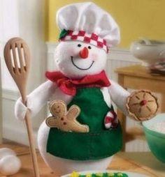 Snowman Chef Felt Applique Kit - 11492231 - Overstock - Big Discounts on Bucilla Needlework Kits - Mobile Snowman Crafts, Xmas Crafts, Christmas Projects, Felt Crafts, Diy Crafts, Christmas Sewing, Felt Christmas, Christmas Snowman, Christmas Time