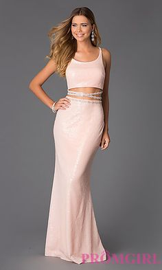 Floor Length Two Piece Sequin Dress by Shimmer at PromGirl.com