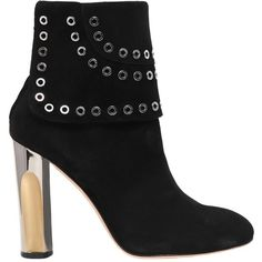 Alexander Mcqueen Women 105mm Eyelets Suede Ankle Boots (17.655.335 IDR) ❤ liked on Polyvore featuring shoes, boots, ankle booties, black, high heel ankle boots, high heel booties, black bootie boots, short black boots and black suede bootie