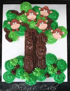 Delana's Cakes: Cheeky Little Monkey Cupcake Tree Monkey Cupcake Cake, Cupcake Tree, Cupcake Cakes, Monkey Cake Pops, Monkey Birthday, 1st Birthday Cakes, Birthday Stuff, Ice Age Cake, Maleficent Cake