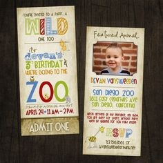 Tall Zoo Birthday Invitation...maybe a zoo party for the girls