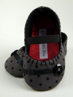 Baby Shoes  girls gray with black polka dot mary by OnlyLittleOnce, $20.00