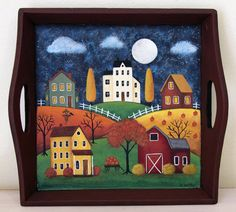 Halloween Folk Art Hand Painted Wood Tray by RavensBendFolkArt