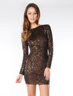 Sexy Chocolate Long Sleeved Sequin Dress @ Flirtcatalog.com