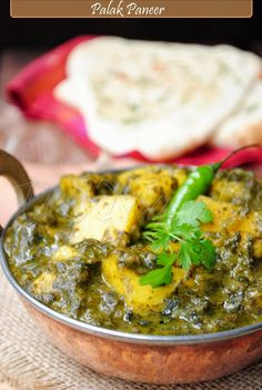 Saag Paneer ~ hearty, wholesome Indian curry with Paneer cheese simmered in a delicious curried spinach sauce