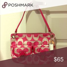 """Coach Signature Handbag Great condition! Pink with metallic Coach signature handbag. 13.5"""" x 9.5"""" Long strap included! Coach Bags"""
