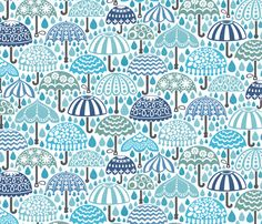 Vintage Brollies in Downpour by christinewitte--spoonflower fabric