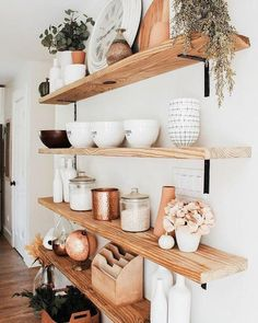62 simple but practical DIY shelves decorations ideas - Wohnküche - Shelves in Bedroom Home Design, Interior Design, Design Ideas, Sweet Home, Diy Casa, Cute Home Decor, Kitchen Shelves, Kitchen Storage, Dining Room Shelves