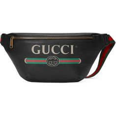 Gucci Gucci Logo Leather Belt Bag ($1,175) ❤ liked on Polyvore featuring bags, accessories, black, luggage & lifestyle bags, women, genuine leather bag, leather zip bag, real leather belts, zipper bag and leather belt