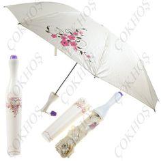 Şişe Tasarımlı Kutusuyla Çiçek Desenli Şemsiye