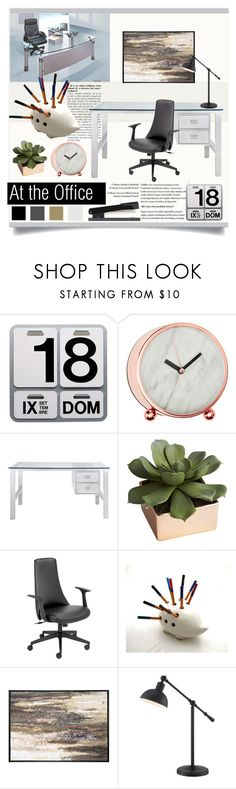 """""""At the Office"""" by crazycatlover21 on Polyvore featuring interior, interiors, interior design, home, home decor, interior decorating, Danese, CB2, Universal Lighting and Decor and Home Decorators Collection"""