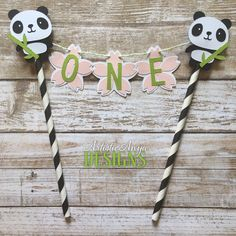 Panda Birthday Age Cake Bunting Topper - Smash Cake - Panda Bear Party - Black White Pink Green - Pandamonium Decorations - Cherry Blossom by ArtisticAnyaDesigns on Etsy