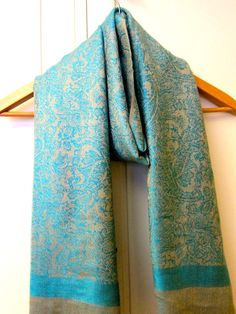 a0eca6cef1f9 Golden Turquoise Pastel Himalayan Pashmina Scarf Shawl Wrap Reversible ,  Pashmina Shawl, Cashmere Scarf,