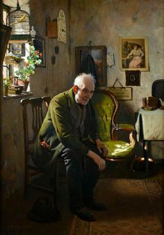 """Charles Spencelayh was born in Rochester in Kent, and first studied at the National Art Training School, South Kensington. He showed his work at the Paris Salon, but most of his exhibitions were in Britain. Between 1892 and 1958, he exhibited more than 30 paintings at the Royal Academy, including """"Why War"""" (1939) which won the Royal Academy 'Picture of the Year'.......... He was also a founder member of the Royal Society of Miniature Painters"""