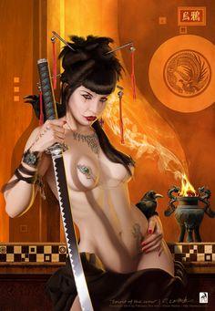 Female art sexy samurai