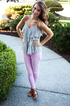 Lavender pants and floral ruffle top