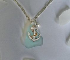 Anchor Necklace  Aqua Sea Glass Necklace  by SeaGlassJewelryEtsy