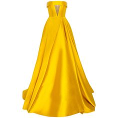 Alex Perry The Elsa Silk Strapless Crinoline Cuff Gown ($1,580) ❤ liked on Polyvore featuring dresses, gowns, yellow, alex perry, long dress, yellow dress, yellow gown, yellow evening dress, strapless gown and v neck gown