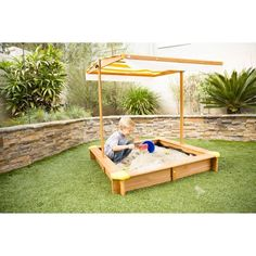 Outward Play Joey Square Wood Sandbox with Canopy - OUT108  sc 1 st  Pinterest & KidKraft 165 Kids Outdoor Sandbox with Canopy | Sandboxes With ...