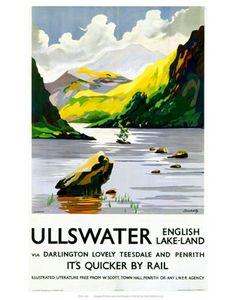 LNER Vintage Travel Poster by Schabelsky Ullswater, Lake District, Cumbria. LNER Vintage Travel Poster by Schabelsky Posters Uk, Train Posters, Railway Posters, Poster Prints, Art Prints, Cumbria, Lake District, British Travel, National Railway Museum