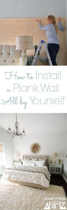 How to install a plank wall all by yourself. No help needed! You can do this. :) Click for tutorial.