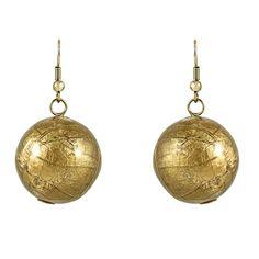 Beautiful! golden colour leaf pattern ball earrings5 cm drop