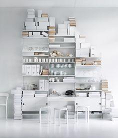 Home office for the spacious room💫 Interior Design Blogs, Estilo Interior, Home Interior, Interior Styling, Interior Inspiration, Shelf System, Shelving Systems, Shelving Design, Modular Shelving