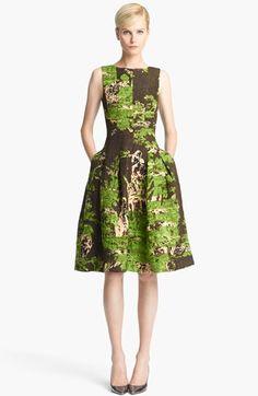 Oscar de la Renta Print Silk & Wool Jacquard Dress | Nordstrom OMG $1,999. 1940s - 50s bark-cloth looking  fabric - even the colors.