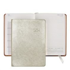 2014 Notebook, White Gold Metallics Leather Agenda Calendar