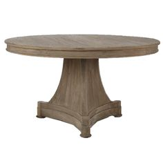 "Provence Pedestal Dining Table This stylish Provence-style round dining table features a light birch wood finish with a gray wash that shows off the beautiful grain of the wood. The sleek carved base is expertly created by talented artisans. Imagine how lovely this will look with your French or Italian-inspired decor.   Features:  • Made from solid wood  • Carved base  Dimensions: 31""H X 55""D X 55""W  Stock: In Stock  Shipping: Ships Within Two …"