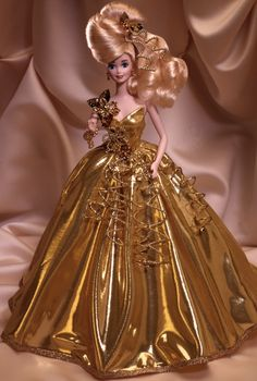 Gold Sensation Barbie Doll - Porcelain - 1993 The Gold & Silver Porcelain Collection - Barbie Collector