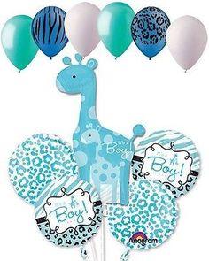 11pc Sweet Safari Baby Boy Giraffe Balloon Decoration Party Shower Welcome Home
