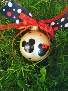 Mickey and Minnie Mouse Ornament - Disney Christmas Ornament - Handpainted Glass Ball. $18.00, via Etsy.