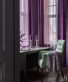 Small Bedroom Remodel Murphy Beds and How To Remodel My Bedroom. Home Interior, Decor Interior Design, Purple Curtains, Purple Walls, Sheer Curtains, Purple Home, Purple Interior, Murphy Beds, Small Bedrooms