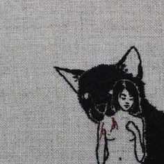 Hand embroidery on natural linen, detail.
