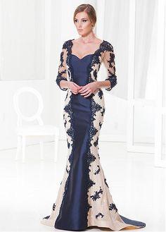 Glamorous Satin & Tulle Mermaid Sweetheart Neckline Full-length Mother of the Bride Dress