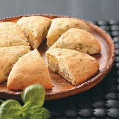 Basil Marmalade Scones Recipe -Orange marmalade and fragrant basil give these delightful scones a slightly sweet, garden-fresh flavor. They're tender and moist and perfect with morning or afternoon tea. Healthy Chicken Recipes, Whole Food Recipes, Snack Recipes, Cooking Recipes, Snacks, Scone Recipes, Healthy Dinners, Fresh Basil Recipes, Orange Scones