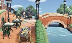 Love the Cafe and brick & brick bridge Animal Crossing 3ds, Animal Crossing Villagers, Animal Crossing Qr Codes Clothes, Animal Crossing Pocket Camp, Animal Games, My Animal, Ac New Leaf, Motifs Animal, Island Design