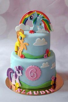 My little pony - Cake by Klara Liba My Little Pony Party, Bolo My Little Pony, Cumple My Little Pony, Rainbow Dash Cake, Rainbow Dash Birthday, 5th Birthday, Birthday Cake, Mlp Cake, Cupcake Cakes
