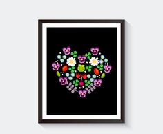 Set: Black White Bear with flower wreath - You are a Wild Flower or custom text. Printable Poster Wall Art for Girls Kids Room or Nursery by LetuvePosters on Etsy.