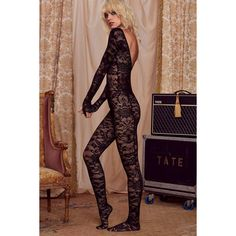 Love, Courtney by Nasty Gal Hard Rock Unitard (£86) ❤ liked on Polyvore featuring sheer top, see through tops, rock tops, scoop neck top and transparent top
