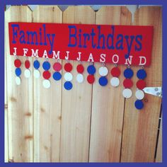 Red, white and blue family birthday wood sign
