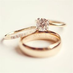 <3 Love this - Solitare diamond (one God, one woman for life), small diamond band, engagement ring engraved with our names, band with wedding date <3