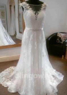 Sweep Train Sleeveless Tulle Bateau V-back Appliques White A-line Wedding  Dresses Bridal ceda23148132