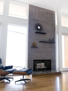 ****I like the randomness of these shelves to deal with the massive heighth of the fireplace. We could do a traditional mantel all the way around it and still do this above it. Could they be done in such a way that they could be removed so we could put something big up periodically? - - - Fireplace Design, Pictures, Remodel, Decor and Ideas - page 396