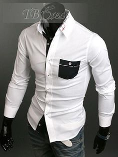 hot white buttoned shirt with blk pocket and blue jeans