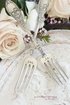 Antique wedding cake forks vintage silver by BeachHouseLiving